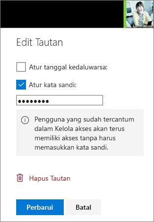 Cuplikan layar Edit Link pengaturan