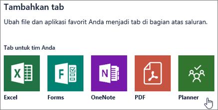 Cuplikan layar kotak dialog Tambahkan tab di Teams