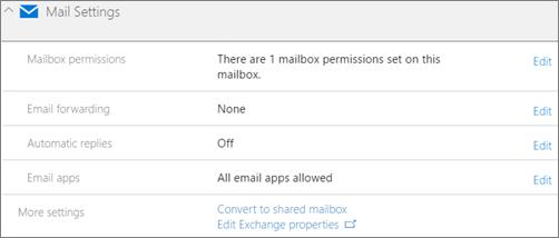 Cuplikan layar: Mengonversi kotak surat pengguna ke kotak surat bersama