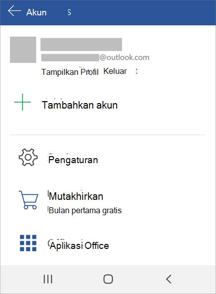 Menampilkan opsi untuk Keluar dari Office pada perangkat Android