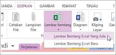 Klik tab Sisipkan untuk menambahkan lembar bentang