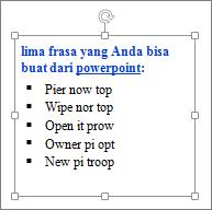 Pemformatan di kotak teks PowerPoint