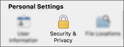 Tombol keamanan & privasi dalam dialog preferensi aplikasi.