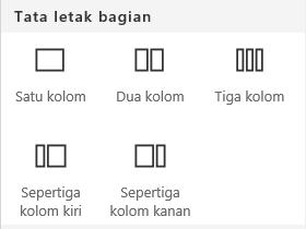 Cuplikan layar menu Tata letak bagian di SharePoint.