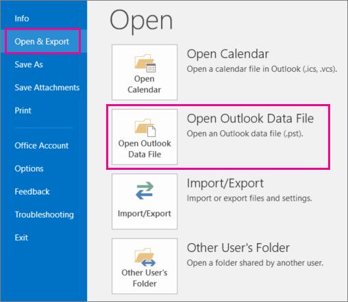 Cara membuka file PST untuk menampilkan email di PST.