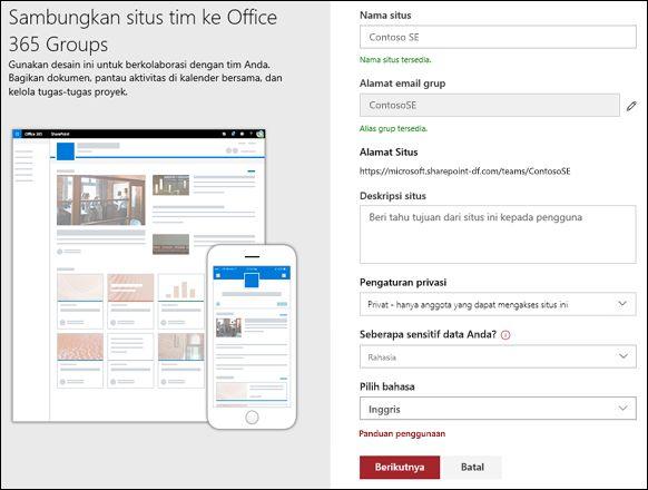 Membuat situs tim SharePoint