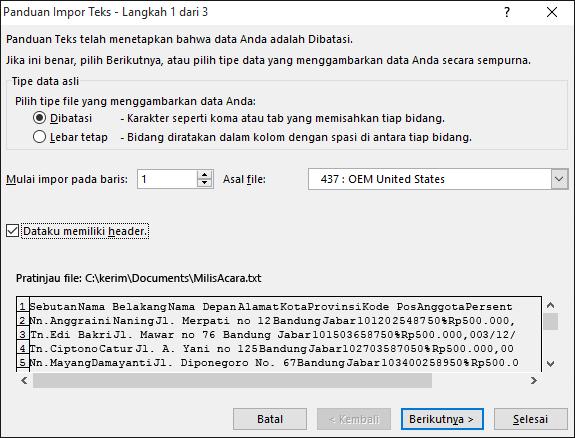 Excel Dapatkan Data Eksternal dari Teks, Panduan Impor Teks, Langkah 1 dari 3
