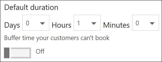 Cuplikan layar: Setel durasi default untuk Layanan