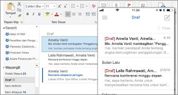 Folder draf di desktop dan di ponsel