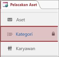 Ikon Terkunci muncul pada tabel yang dikunci di Access
