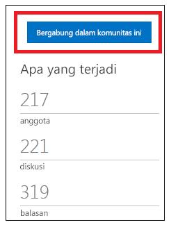 cuplikan layar tombol yang bertuliskan gabung dalam komunitas ini.