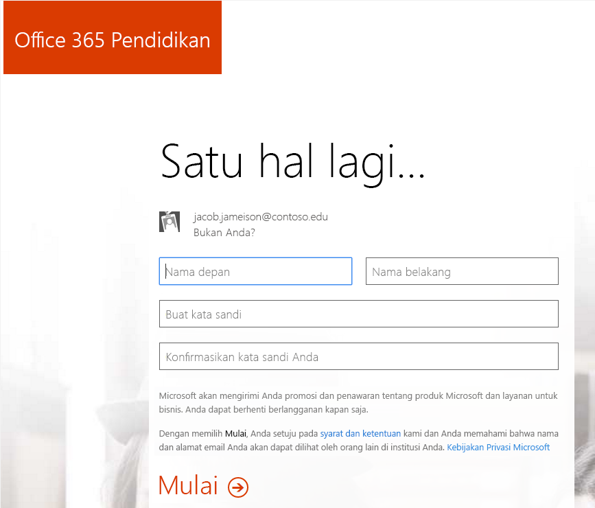 Cuplikan layar halaman pembuatan kata sandi untuk Office 365 proses pendaftaran.