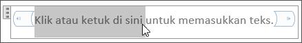 Pengeditan teks tempat penampung dalam kontrol konten teks biasa