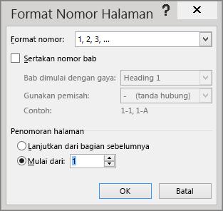 Opsi di dalam kotak dialog Format Nomor Halaman diperlihatkan.