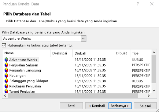 Layar panduan koneksi data 2