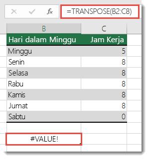 Kesalahan #VALUE dalam TRANSPOSE