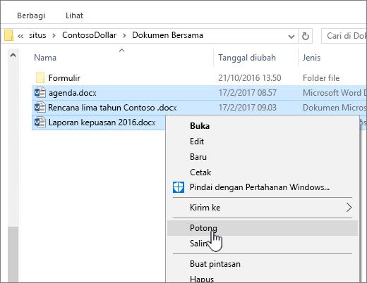 Klik kanan dan pilih potong untuk memindahkan file