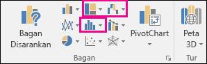 Ikon untuk menyisipkan hierarki, air terjun atau saham, atau bagan statistik di Excel 2016 untuk Windows