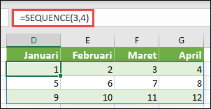 Membuat baris 3 dengan 4 array array konstanta dengan = SEQUENCE (3, 4)