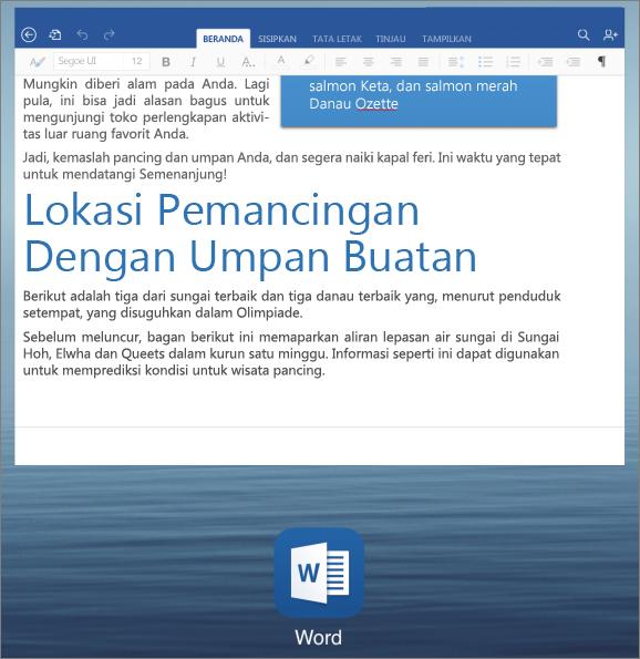 Peralihan aplikasi di iPad