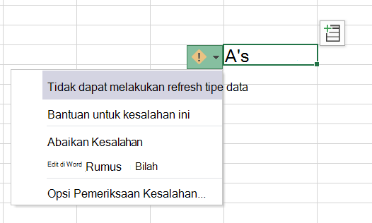 ToolTip menampilkan kesalahan refresh tipe data