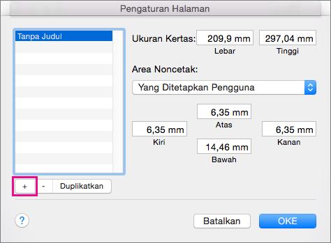 Di Penyetelan Halaman, pilih Kelola Ukuran Kustom untuk membuat ukuran kertas kustom.