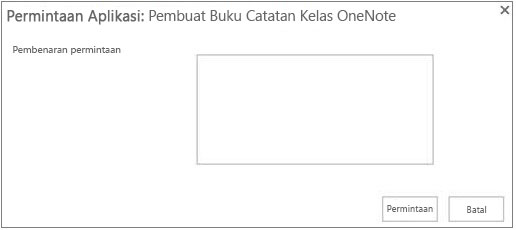 Cuplikan layar kotak dialog permintaan aplikasi