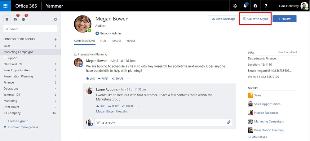 Halaman profil panggilan dengan Skype