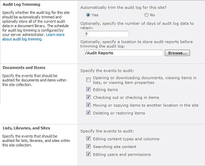 ss_Configure Audit Settings page