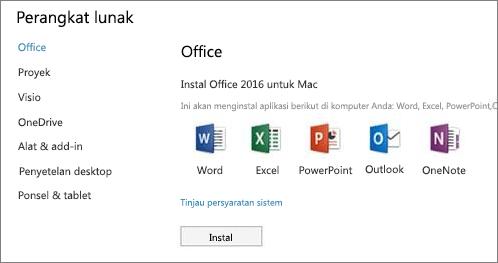 Layar instal perangkat lunak Pengaturan Office 365 di Mac