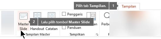 Gunakan tab Tampilan di PowerPoint untuk beralih ke tampilan Slide Master