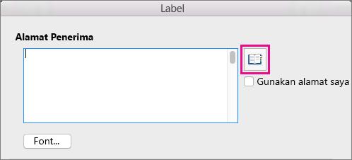 Klik ikon Sisipkan Alamat untuk memilih alamat dari daftar kontak Anda.