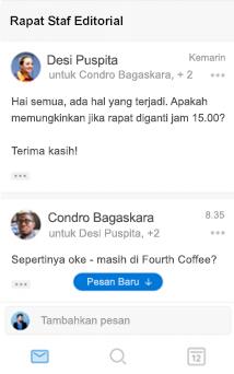 Pengalaman percakapan baru di Outlook untuk iOS