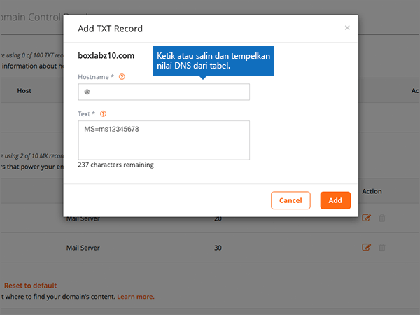 Type or paste the DSN values on the Add TXT Record page