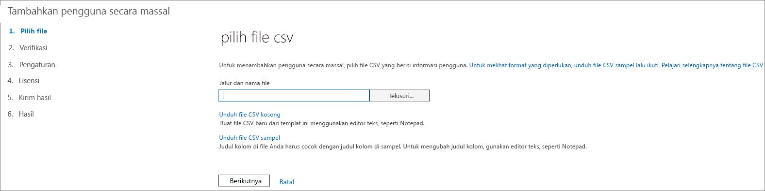 Langkah 1 dalam Panduan Menambahkan Pengguna Secara Massal - Pilih File CSV