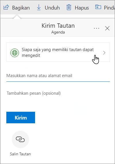 Kotak dialog berbagi file di OneDrive