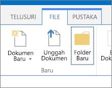 Tab file pada pita dengan tombol Folder Baru disorot