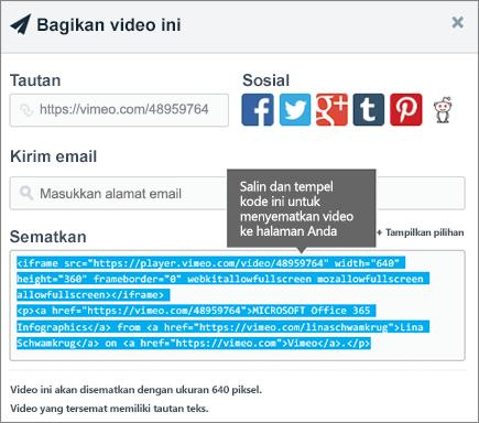 Contoh penggunaan kode semat untuk menyematkan konten di halaman SharePoint