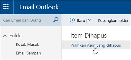 Cuplikan layar tombol Pulihkan Item terhapus.