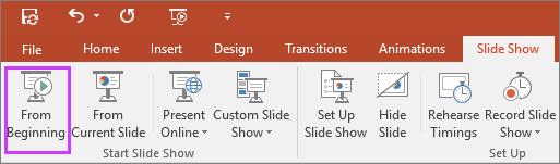 """Memperlihatkan tombol """"dari awal"""" pada tab peragaan slide di PowerPoint"""