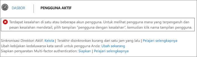 Deklarasi kesalahan sinkronisasi direktori di bagian atas halaman Pengguna Aktif