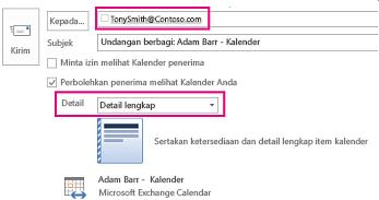 Undangan untuk berbagi email kotak surat secara eksternal - pengaturan kotak Kepada dan Detail