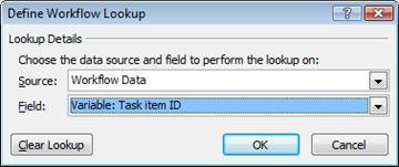Pencarian ke variabel alur kerja bernama ID item Tugas