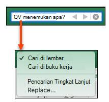 Dengan bilah pencarian diaktifkan, klik kaca pembesar untuk mengaktifkan dialog Opsi pencarian lainnya