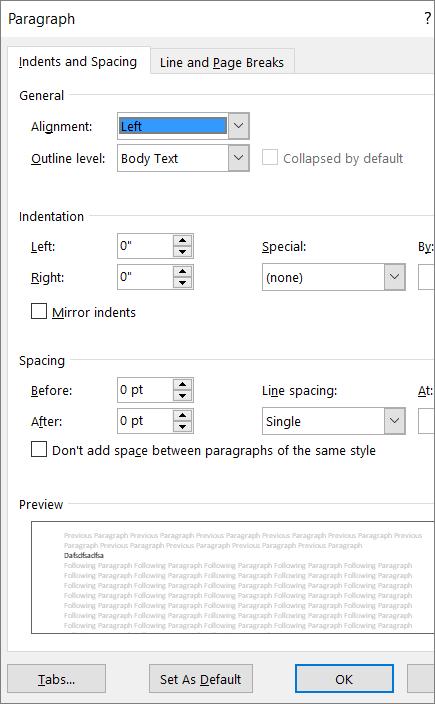 Tangkapan layar kotak dialog Paragraf