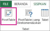 Tombol PivotTable pada tab Sisipkan