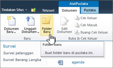 Pita dokumen SharePoint 2010 dengan Folder Baru disorot
