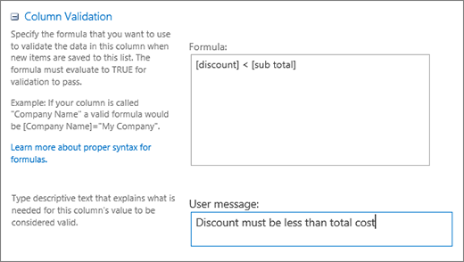 Dialog validasi kolom dengan bidang yang diisi dengan contoh data