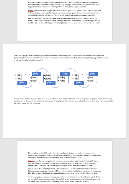 Halaman lanskap dalam dokumen Portrait yang jika tidak memungkinkan Anda memasukkan elemen yang luas seperti tabel dan diagram ke halaman
