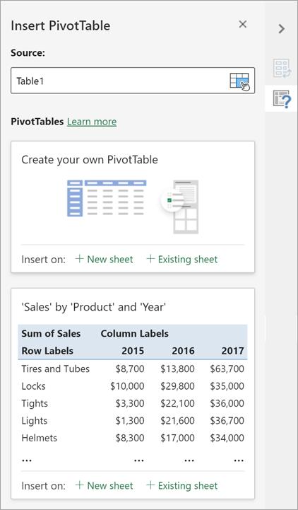 Panel Sisipkan PivotTable memungkinkan Anda mengatur sumber, tujuan, dan aspek lainnya dari PivotTable.